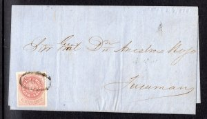 Argentina, 1864 (Seal of Republic), 5 cents very fine used on folded letter.