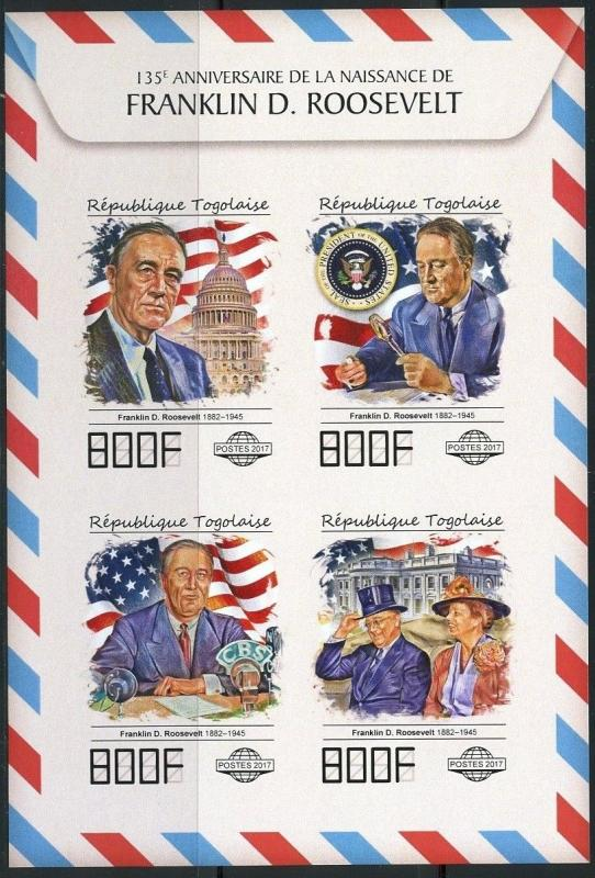 TOGO 2017 135th BIRTH OF FRANKLIN D ROOSEVELT IMPERFORATE SHEET MINT NH