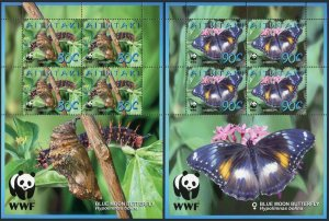 Aitutaki 539-542 sheets/4,MNH. WWF 2008.Blue moon butterfly.