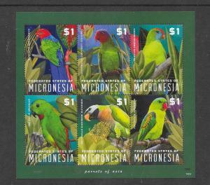 BIRDS - MICRONESIA #1048  PARROTS  MNH