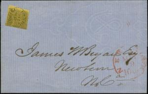 #61B10 ON COVER W/ NEW YORK MAY 9TH 10¢ RED TOWN CANCEL CV $350.00 BP7108