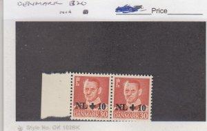J25877 jlstamps 1953 denmark set pair mnh #b20 ovpt,s all checked