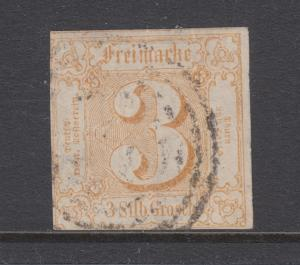 Thurn & Taxis Sc 7 used 1852 3sgr Numeral, fresh