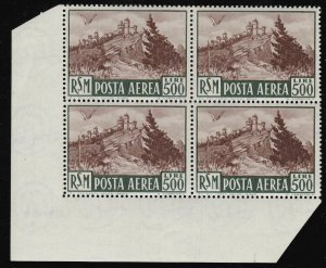 1951 San Marino, Mail Aerea, N° 97, Lire 500 Bruno MNH Quartina Luxury