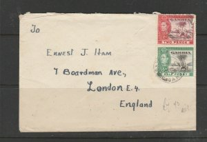 Gambia 1946 Commercial mail to UK with GV1 1/2d & 2d
