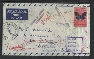 PAPUA NEW GUINEA COVER (P1005B) 1966 5C BUTTERFLY SHORT PAID RETURNED TO AUSTRAL