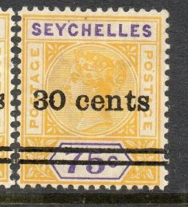 Seychelles 1901 Early Issue Fine Mint Hinged 30c. Surcharged 309001