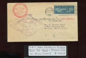 Scott C15 Graf Zeppelin Used  Stamp on Nice Flight Cover (Stk C15-RC1)