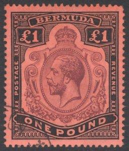Bermuda 1918 £1 Purple & Black on red Wmk CA SG 55 Scott 54 VFU Cat £550($715)