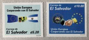 El Salvador 1999 EU Cooperation, flags, MNH. Scott 1506-1507, CV $5.50