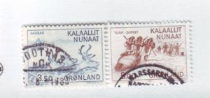 Greenland Sc 146-7 1981 Hunting Reindeer Seal stamps used
