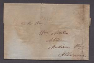 **US Stampless Cover, Cleveland, OH 1848 Red Paid + X Rate, Folded Letter