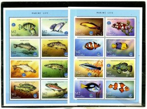 LESOTHO 1998 FISH & MARINE LIFE 2 SHEETS OF 8 STAMPS MNH