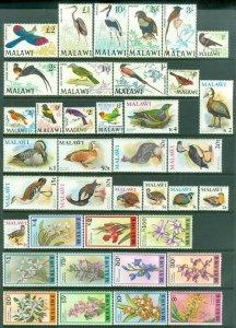 EDW1949SELL : MALAWI 1968-75 Sc #95-108, 233-45, 327-41, 470-73 Birds Cat $158