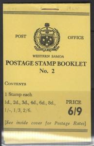 SAMOA SGSB7 1962 6/9 BOOKLET MNH