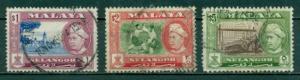 Malaya-Selangor #110, 111a, 112  Used  Scott $5.65
