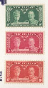 NEW ZEALAND # 199-201 VF-MLH KGV SILVER JUBILEES