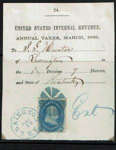 Scott #86 used on Tax Receipt