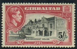 GIBRALTAR-1938-51 5/- Black & Carmine Perf 13½.  A mounted mint example Sg 129a