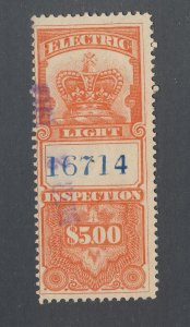 Canada Revenue Electric Light Stamp #FE6-$5.00 Used Fine Guide Value = $45.00