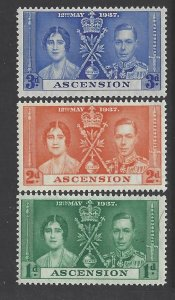 Ascension, Scott #37-39; King George VI Coronation, MLH