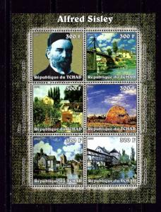 Chad 2002 Alfred Sisley mini-sheet of 6 NH