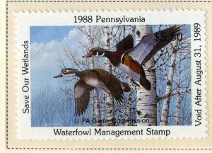 US PA6 PENN STATE DUCK STAMP 1988 MNH SCV $10.00 BIN $5.50