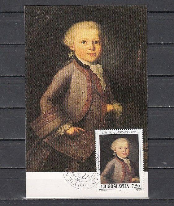 Yugoslavia, Scott cat. 2092. Composer Mozart issue on a Maximum Card.