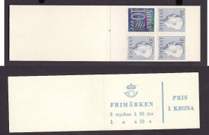 Sweden-Sc#514b-unused NH booklet-id4-King definitive-pane of 4-