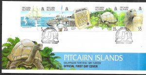 Pitcairn Islands #511 Galapagos Tortoise strip of 5 on cover (FDC)  CV $9.50