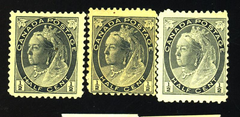 Canada #74 (3) MINT F-VF OG NH Cat$60