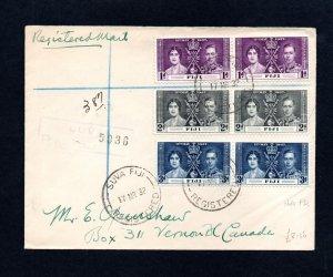 1938 FIJI REGISTERED COVER BEARING 1937 CORONATION STAMPS