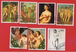 Paraguay #2056a-f #2057  VF used  Paintings  Free S/H