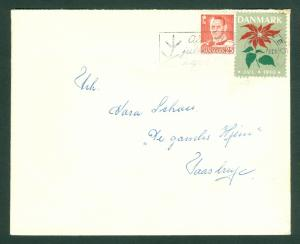 Denmark. Cover 1950 Naestved. With Christmas Seal + Sc# 321. Adr: Taastrup