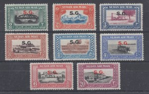 Sudan Sc CO1-CO8 MLH. 1950 S.G. Official overprints on Air Mail issues, complete