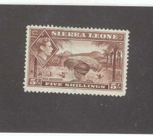 SIERRA LEONE # 183 VF-KGV1 5sh VERY LIGHT CANCEL
