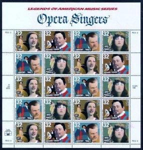 PCBstamps  US #3154/3157 Sheet $6.40(20x32c)Opera Singers, MNH, (3)