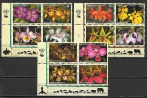 United Nations 879a, G 439a, V 363a 2005 Endangered Species Block MNH (lib)