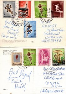 San Marino 2x Postcards postmarked 1965 & 1968 [Used]