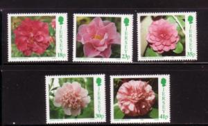 Jersey Sc 703-7 1995 Camellias stamp set mint NH