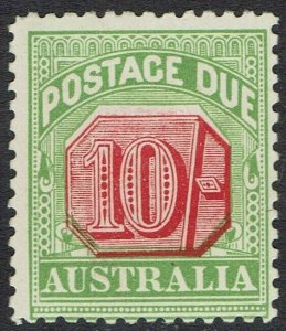 AUSTRALIA 1909 POSTAGE DUE 10/-  WMK CROWN/DOUBLE LINED A PERF 12 X 12.5