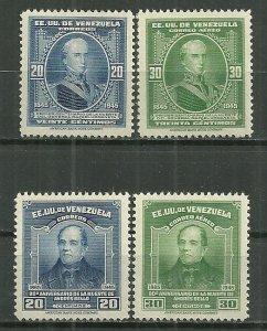 1946 Venezuela 392-3 & C216-7 Andres Bello & Gen. Urdaneta C/S of 4 MLH