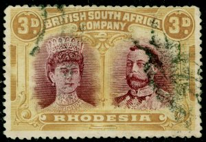 RHODESIA SG180, 3d purple & ochre PERF 14 x 15, FINE USED. Cat £300.
