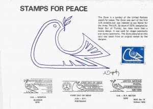 United Nations (New York) #249 Dove affixed to Stamps for Peace card