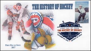 17-338, 2017, History of Hockey, Digital Color Postmark, FDC, Detroit MI