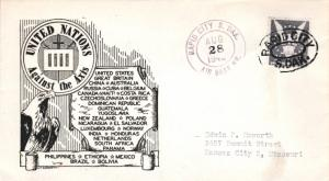 United States South Dakota Air Base Br. Rapid City 1942 violet double ring  1...