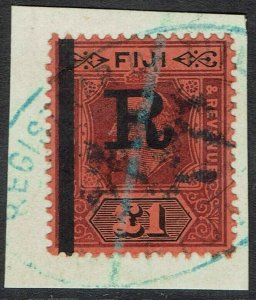 FIJI 1910 KGV REVENUE 1 POUND USED ON PIECE