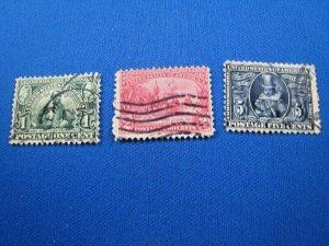 UNITED STATES,  1907 SCOTT #328-330  -  Used