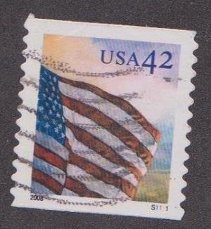US #4238 Flag at Dawn Used PNC Single plate #S1111