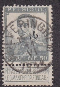 Belgium # 99, King Albert With Label, Used  1/3 Cat